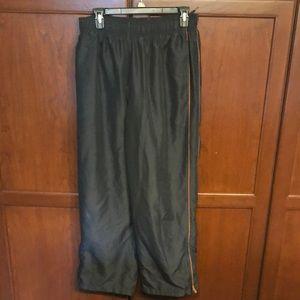 Men's L lined sweatpants gray with orange stripes